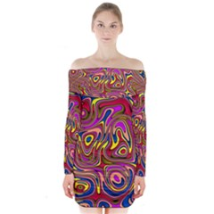 Abstract Shimmering Multicolor Swirly Long Sleeve Off Shoulder Dress by designworld65