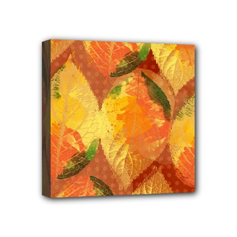Fall Colors Leaves Pattern Mini Canvas 4  X 4  by DanaeStudio