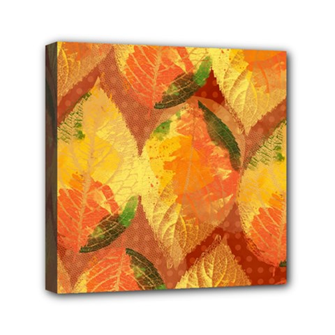 Fall Colors Leaves Pattern Mini Canvas 6  X 6  by DanaeStudio