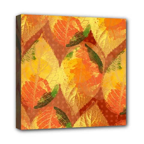 Fall Colors Leaves Pattern Mini Canvas 8  X 8  by DanaeStudio
