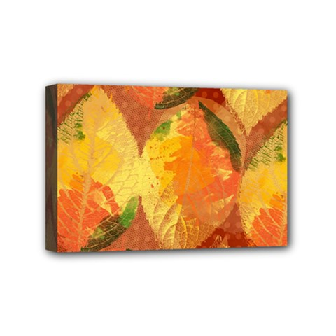 Fall Colors Leaves Pattern Mini Canvas 6  X 4  by DanaeStudio