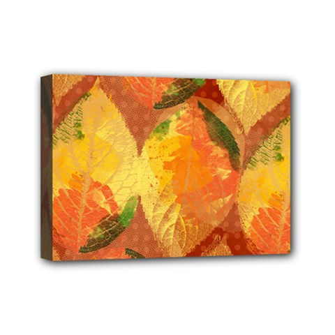 Fall Colors Leaves Pattern Mini Canvas 7  X 5  by DanaeStudio