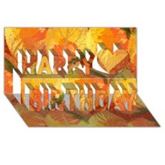 Fall Colors Leaves Pattern Happy Birthday 3d Greeting Card (8x4) by DanaeStudio