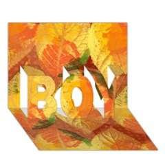 Fall Colors Leaves Pattern Boy 3d Greeting Card (7x5) by DanaeStudio