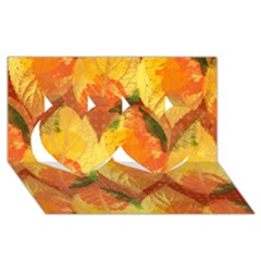 Fall Colors Leaves Pattern Twin Hearts 3d Greeting Card (8x4) by DanaeStudio