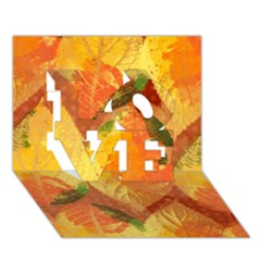 Fall Colors Leaves Pattern Love 3d Greeting Card (7x5) by DanaeStudio