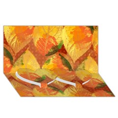 Fall Colors Leaves Pattern Twin Heart Bottom 3d Greeting Card (8x4) by DanaeStudio