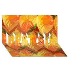Fall Colors Leaves Pattern Best Sis 3d Greeting Card (8x4) by DanaeStudio