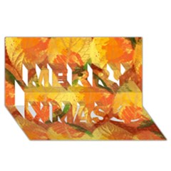 Fall Colors Leaves Pattern Merry Xmas 3d Greeting Card (8x4) by DanaeStudio
