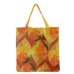 Fall Colors Leaves Pattern Grocery Tote Bag by DanaeStudio