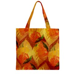 Fall Colors Leaves Pattern Zipper Grocery Tote Bag by DanaeStudio