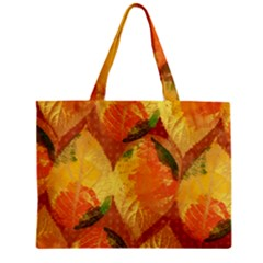 Fall Colors Leaves Pattern Zipper Mini Tote Bag by DanaeStudio