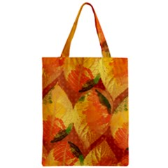 Fall Colors Leaves Pattern Zipper Classic Tote Bag by DanaeStudio