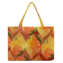 Fall Colors Leaves Pattern Medium Zipper Tote Bag by DanaeStudio
