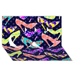 Colorful High Heels Pattern Twin Hearts 3D Greeting Card (8x4)