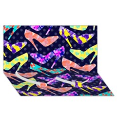 Colorful High Heels Pattern Twin Heart Bottom 3D Greeting Card (8x4)