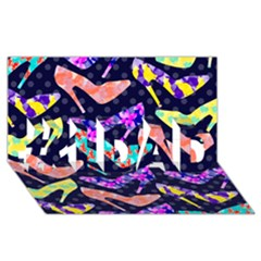 Colorful High Heels Pattern #1 DAD 3D Greeting Card (8x4)