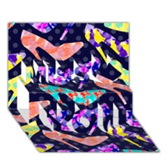 Colorful High Heels Pattern Miss You 3D Greeting Card (7x5)