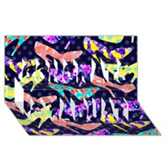 Colorful High Heels Pattern Congrats Graduate 3D Greeting Card (8x4)