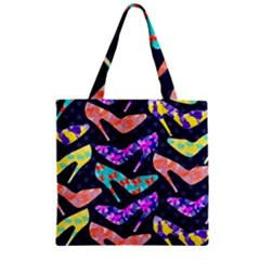 Colorful High Heels Pattern Zipper Grocery Tote Bag by DanaeStudio