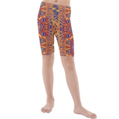 Oriental Watercolor Ornaments Kaleidoscope Mosaic Kids  Mid Length Swim Shorts