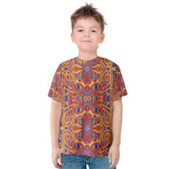 Oriental Watercolor Ornaments Kaleidoscope Mosaic Kids  Cotton Tee