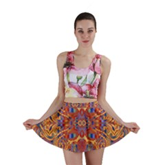 Oriental Watercolor Ornaments Kaleidoscope Mosaic Mini Skirt