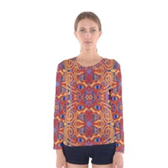 Oriental Watercolor Ornaments Kaleidoscope Mosaic Women s Long Sleeve Tee