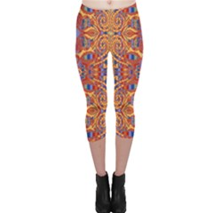 Oriental Watercolor Ornaments Kaleidoscope Mosaic Capri Leggings