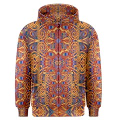 Oriental Watercolor Ornaments Kaleidoscope Mosaic Men s Zipper Hoodie
