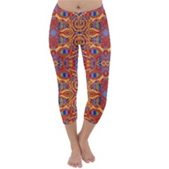 Oriental Watercolor Ornaments Kaleidoscope Mosaic Capri Winter Leggings