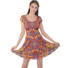 Oriental Watercolor Ornaments Kaleidoscope Mosaic Cap Sleeve Dresses by EDDArt