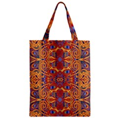 Oriental Watercolor Ornaments Kaleidoscope Mosaic Zipper Classic Tote Bag by EDDArt