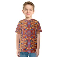Oriental Watercolor Ornaments Kaleidoscope Mosaic Kids  Sport Mesh Tee