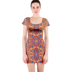Oriental Watercolor Ornaments Kaleidoscope Mosaic Short Sleeve Bodycon Dress