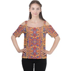 Oriental Watercolor Ornaments Kaleidoscope Mosaic Women s Cutout Shoulder Tee