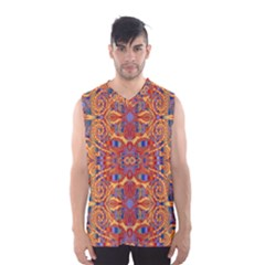 Oriental Watercolor Ornaments Kaleidoscope Mosaic Men s Basketball Tank Top