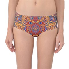 Oriental Watercolor Ornaments Kaleidoscope Mosaic Mid-Waist Bikini Bottoms