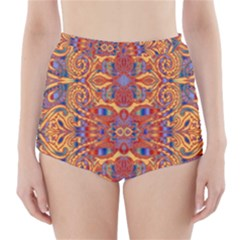 Oriental Watercolor Ornaments Kaleidoscope Mosaic High-Waisted Bikini Bottoms