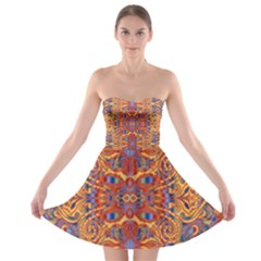 Oriental Watercolor Ornaments Kaleidoscope Mosaic Strapless Bra Top Dress