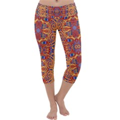 Oriental Watercolor Ornaments Kaleidoscope Mosaic Capri Yoga Leggings by EDDArt