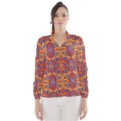Oriental Watercolor Ornaments Kaleidoscope Mosaic Wind Breaker (Women)