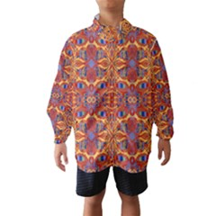 Oriental Watercolor Ornaments Kaleidoscope Mosaic Wind Breaker (kids) by EDDArt