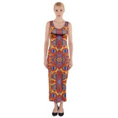 Oriental Watercolor Ornaments Kaleidoscope Mosaic Fitted Maxi Dress