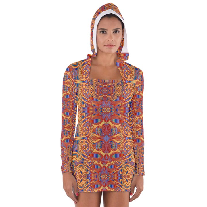 Oriental Watercolor Ornaments Kaleidoscope Mosaic Women s Long Sleeve Hooded T-shirt