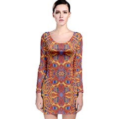 Oriental Watercolor Ornaments Kaleidoscope Mosaic Long Sleeve Velvet Bodycon Dress