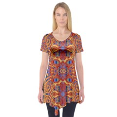 Oriental Watercolor Ornaments Kaleidoscope Mosaic Short Sleeve Tunic