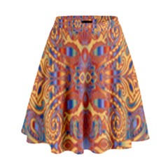 Oriental Watercolor Ornaments Kaleidoscope Mosaic High Waist Skirt