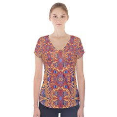 Oriental Watercolor Ornaments Kaleidoscope Mosaic Short Sleeve Front Detail Top