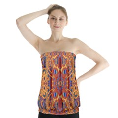Oriental Watercolor Ornaments Kaleidoscope Mosaic Strapless Top